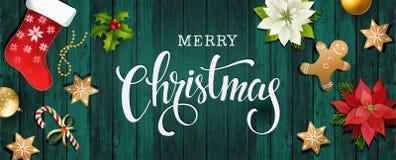 Weihnachtsverkaufs-Designzusammensetzung der Poinsettias, der Tannenzweige, der Kegel, des Lebkuchens, der Zuckerstange, der Stec Stockfotografie