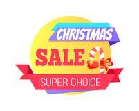 Weihnachtsverkaufs-spezieller super auserlesener runder Aufkleber vektor abbildung
