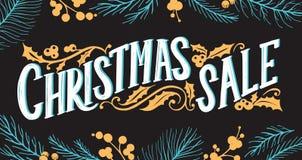 Weihnachtsverkaufs-Tafelhintergrund mit Feiertagsdekorationen Vektor Abbildung
