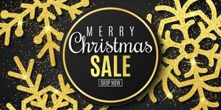 Weihnachtsverkaufsfahne Schneeflocken des Goldfunkelns auf einem schwarzen Hintergrund Glückliches neues Jahr und frohe Weihnacht vektor abbildung