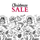 Weihnachtsverkaufsfahne Vektorhand gezeichnete Abbildung Weihnachtsanlagen und -symbole lizenzfreie abbildung