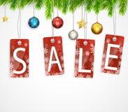 Weihnachtsverkaufshintergrund mit Weihnachtsdekoration Stockfoto