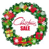 Weihnachtsverkaufsplakat Kranz mit Geschenkboxen und Schneeflocken Handgeschriebenes Lattering Vektor lizenzfreie abbildung