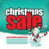 Weihnachtsverkaufsschablone mit nettem Schneemann Lizenzfreie Stockbilder