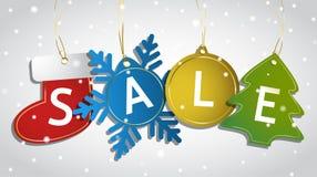 Weihnachtsverkaufstags auf einem schneebedeckten Hintergrund Lizenzfreie Stockbilder