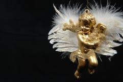 Weihnachtsverzierung - goldener Engel, abschließendes Teil VI lizenzfreie stockbilder