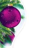 Weihnachtsverzierungen auf einem blauen funkelnden Hintergrund lizenzfreie abbildung