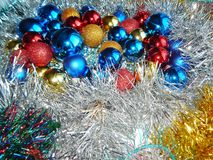 Weihnachtsverzierungen, Dekorationen, Stillleben, Hintergrund, Zusammensetzung Stockfotografie