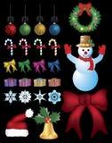 Weihnachtsverzierungen eingestellt. Stockbilder