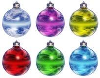 Weihnachtsverzierungen getrennt Stockfotos