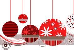 Weihnachtsverzierungen im Rot stock abbildung