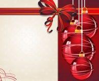 Weihnachtsverzierungen mit rotem Bogen lizenzfreie abbildung