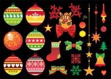 Weihnachtsverzierungen und -spielwaren lizenzfreie abbildung