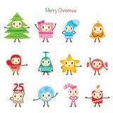 Weihnachtsverzierungs-Charakter-Design-Satz Lizenzfreie Stockbilder