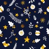 Weihnachtsverzierungs-nahtloses Muster-Golddunkelblaue Marine Backgrou Lizenzfreie Stockfotos