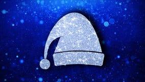 Weihnachtsverzierungssankt-Hutelementblinkenikonen-Partikel backround