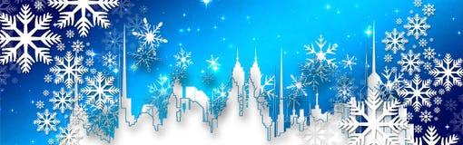 Weihnachtswünsche, Bogen mit Sternen und Schnee, Hintergrund Lizenzfreies Stockfoto