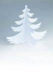 Weihnachtsweißer Büttenpapierbaum mit weißem Kopienraum Stockfotografie