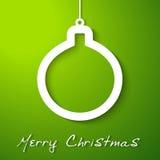 Weihnachtsweißer Kugel Applique auf grünem Hintergrund Stockfoto