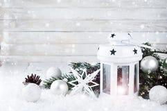 Weihnachtsweißlaterne Stockbild