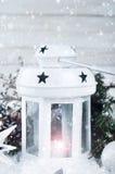 Weihnachtsweißlaterne Stockfoto