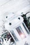 Weihnachtsweißlaterne Lizenzfreie Stockfotos