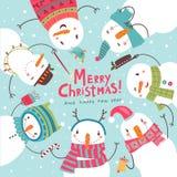 Weihnachtsweihnachtskarte Runder Tanz der Schneemänner Lizenzfreies Stockfoto