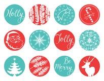 Weihnachtsweinlese-Aufkleber stock abbildung