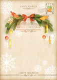 Weihnachtsweinlese-Feiertags-Vektor-Postkarte Stockfotografie