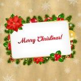 Weihnachtsweinlese-Leerzeichen-Geschenk-Marke stock abbildung