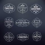 Weihnachtsweinlese-Typografie-Vektor-Ausweise an eingestellt Lizenzfreie Stockfotos