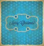 Weihnachtsweinlesefeld mit Schneeflocken Stockbilder