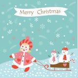 Weihnachtsweinlesehintergrund mit Mädchen und Schneemännern Stockfotografie