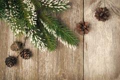 Weihnachtsweinlesehintergrund (mit Tannenzweigen und Kegeln) Stockfotos