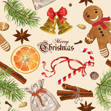 Weihnachtsweinlesemuster Stockbild