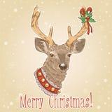 Weihnachtsweinlesepostkarte mit Rotwild Stockbild