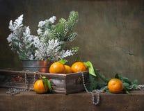 Weihnachtsweinlesestillleben mit Tangerinen stockfotografie