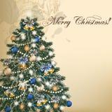 Weihnachtsweinlesevektor-Grußkarte mit Weihnachtsbaum Stockbilder