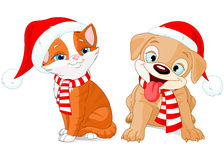 Weihnachtswelpe und -kätzchen Lizenzfreies Stockbild