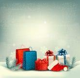 Weihnachtswinter-Landschaftshintergrund. Lizenzfreie Stockfotos
