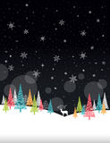 Weihnachtswinter-Rahmen - Illustration Weihnachtskarten-Schwarz-Natur - kein Text Porträt Stockfotos