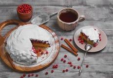Weihnachtswinter-Tortenkuchen mit roten Beerenmoosbeeren Stockbilder