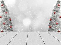 Weihnachtswinterdesign mit weißen hölzernen Planken Lizenzfreie Abbildung