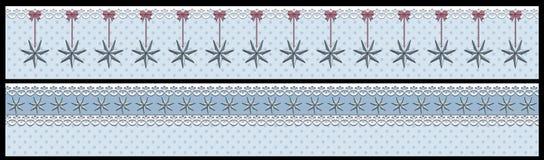 Weihnachtswinterfahne mit Sternen und Punkten 2 unterschiedliche lokalisiert auf Schwarzem lizenzfreie abbildung