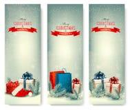 Weihnachtswinterfahnen mit Geschenken. Lizenzfreie Stockfotos