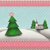 Weihnachtswinterlandschaft mit Weihnachtsbaum, Kirche und Schnee stock abbildung