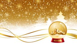 Weihnachtswinterlandschaft u. Schnekugel Stockbilder