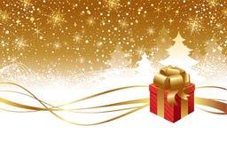 Weihnachtswinterlandschaft und Geschenkkasten Lizenzfreie Stockfotos