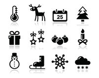 Weihnachtswinterschwarzikonen eingestellt Stockbilder