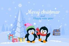 Weihnachtswinterurlaubhintergrund mit netten Karikaturpinguinen lizenzfreie abbildung
